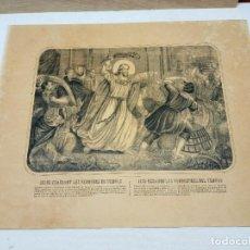Arte: 50 CM - S.XIX FABRICA DE ESTAMPAS SAN RAFAEL MÁLAGA - JESÚS ECHANDO A LOS VENDEDORES DEL TEMPLO. Lote 253741555