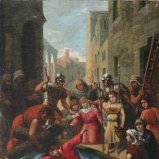 Art: FRANCISCO GARCÍA IBÁÑEZ. S. XIX. ESCENA DE LA PASIÓN. ÓLEO/LIENZO. HAC.1900. MED:58 X 49 CM.. Lote 253741975