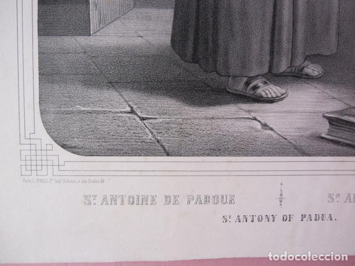 Arte: SAN ANTONIO DE PADUA. LITOGRAFIA TURGIS, PARIS. SIGLO XIX. IMAGEN 43 X 31,5 CM. PAPEL 55,5 X 41,5 CM - Foto 4 - 253803900