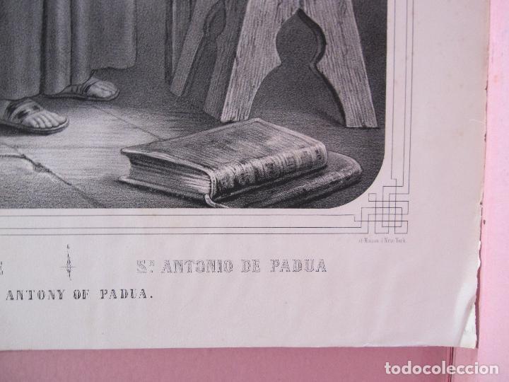 Arte: SAN ANTONIO DE PADUA. LITOGRAFIA TURGIS, PARIS. SIGLO XIX. IMAGEN 43 X 31,5 CM. PAPEL 55,5 X 41,5 CM - Foto 5 - 253803900