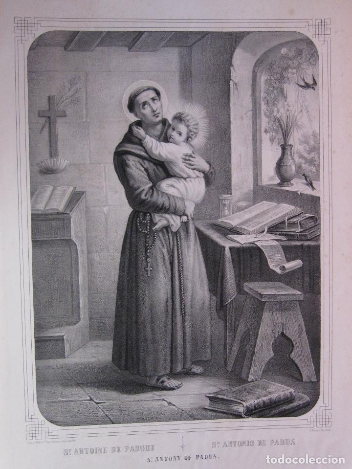 SAN ANTONIO DE PADUA. LITOGRAFIA TURGIS, PARIS. SIGLO XIX. IMAGEN 43 X 31,5 CM. PAPEL 55,5 X 41,5 CM (Arte - Arte Religioso - Litografías)