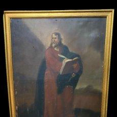 Arte: ANTIGUO ÓLEO SOBRE LIENZO DE SAN MATEO. S. XVII. 90X68. CON MARCO DORADO. Lote 253855445