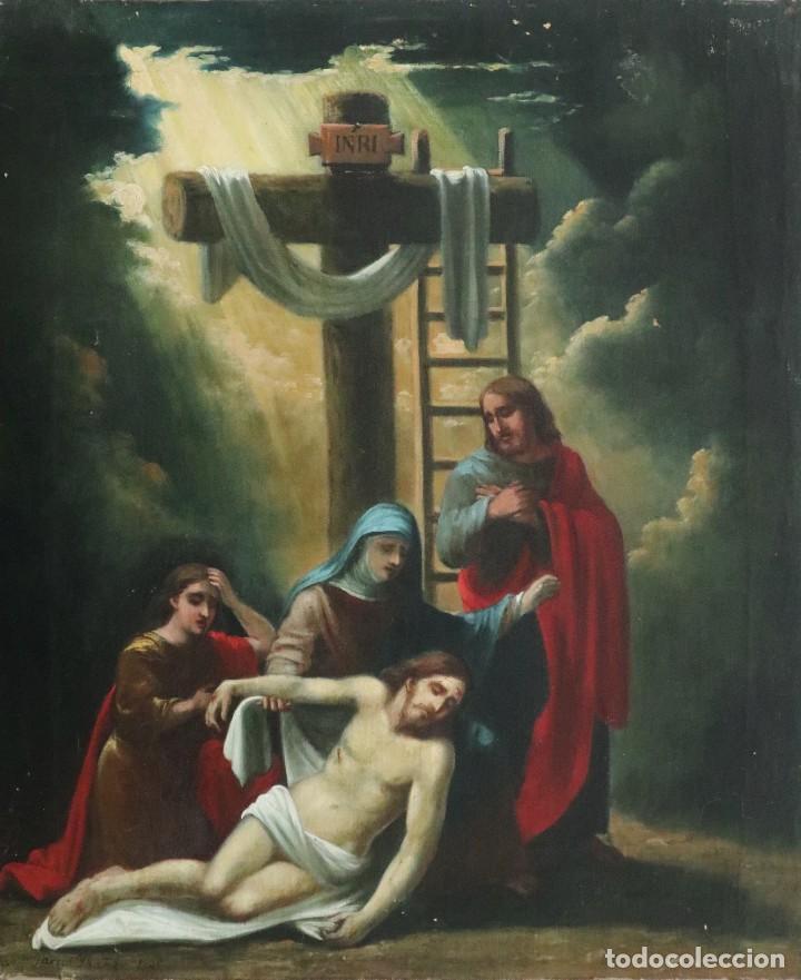 FRANCISCO GARCÍA IBÁÑEZ.1885. LLANTO SOBRE CRISTO MUERTO. ÓLEO/LIENZO. MED: 58 X 49 CM. (Arte - Arte Religioso - Pintura Religiosa - Oleo)