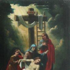 Arte: FRANCISCO GARCÍA IBÁÑEZ.1885. LLANTO SOBRE CRISTO MUERTO. ÓLEO/LIENZO. MED: 58 X 49 CM.. Lote 254096220