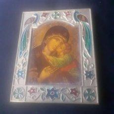 Arte: PEQUEÑO CUADRO, ICONO RELIGIOSO EN EN MADERA Y ESMALTE. Lote 254111990