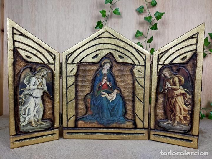 Arte: PRECIOSO RETABLO RELIGIOSO TRIPTICO EN MADERA - Foto 10 - 221091433