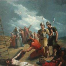 Arte: FRANCISCO GARCÍA IBÁÑEZ.1885. ESCENA DE LA CRUCIFIXIÓN DE JESUCRISTO. ÓLEO/LIENZO. MED: 58 X 49 CM.. Lote 254451840