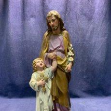 Arte: FIGURA OLOT ARTE CRISTIANO SAN JOSE NIÑO JESUS OJOS VIDRIO PPIO S XX 42X15X15CMS. Lote 254473230