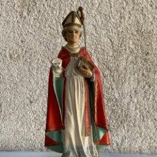 Arte: SAN CIPRIANO FIGURA ARTE RELIGIOSO ARTE OLOTENSE OBISPO MARTIR BACULO 25X9X8CMS. Lote 254474720