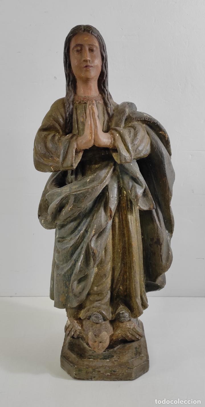 Arte: Virgen Purísima - Talla Popular en Madera de Encina Policromada - Escuela Catalana - S. XVII - Foto 4 - 254490140