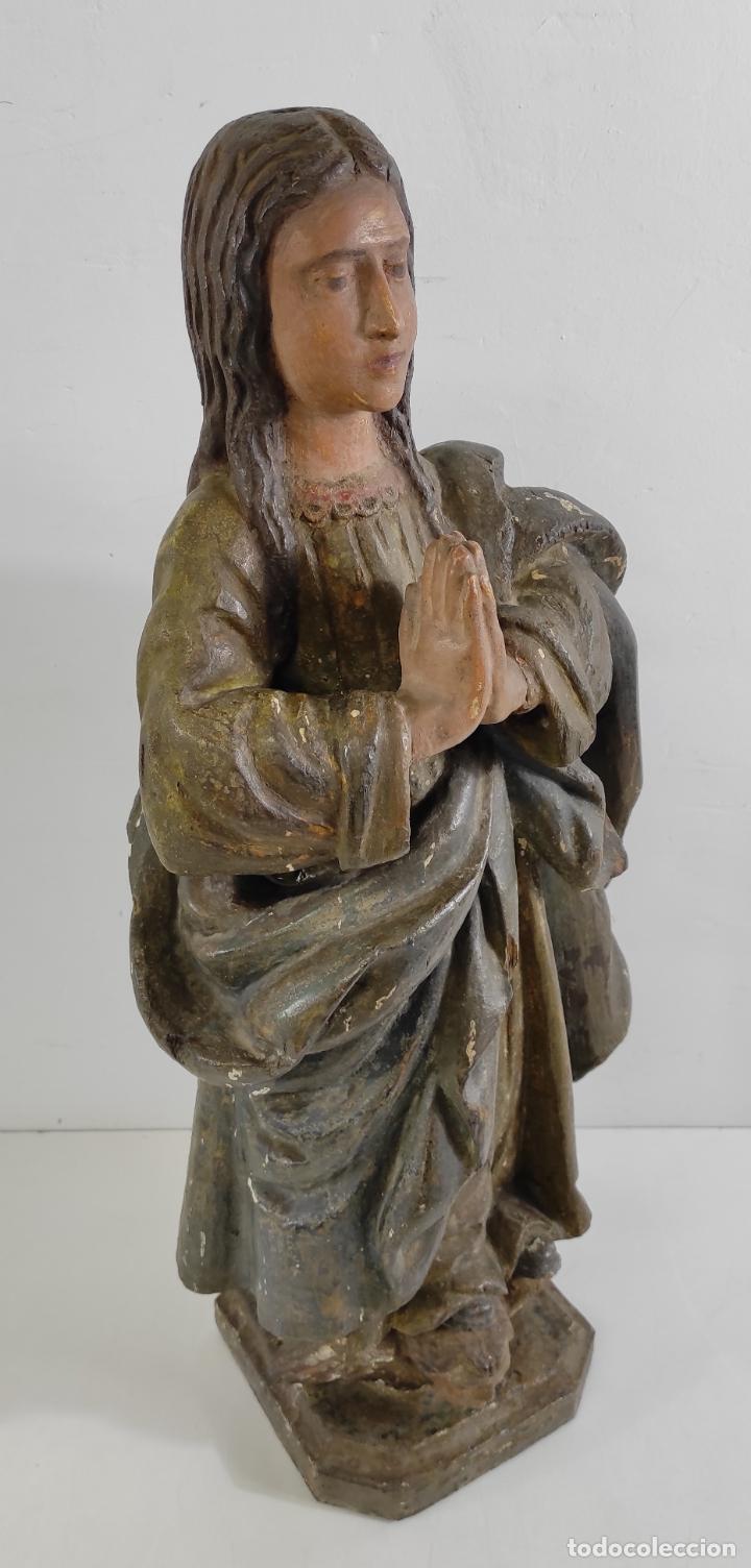 Arte: Virgen Purísima - Talla Popular en Madera de Encina Policromada - Escuela Catalana - S. XVII - Foto 5 - 254490140