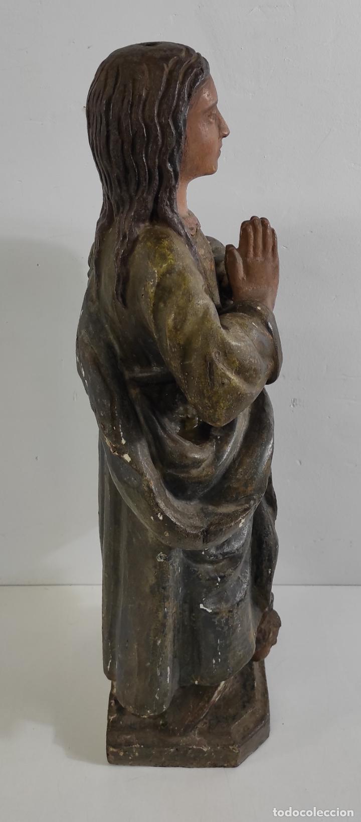 Arte: Virgen Purísima - Talla Popular en Madera de Encina Policromada - Escuela Catalana - S. XVII - Foto 7 - 254490140