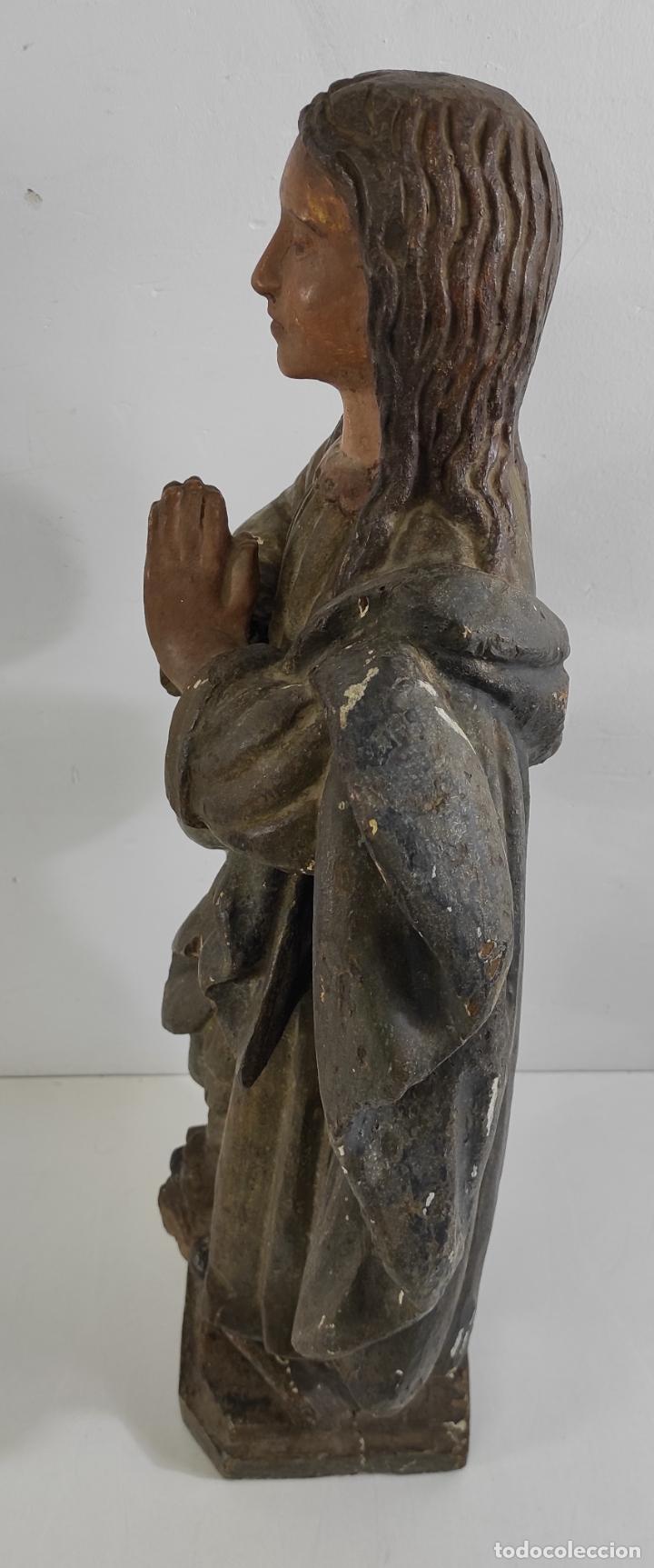 Arte: Virgen Purísima - Talla Popular en Madera de Encina Policromada - Escuela Catalana - S. XVII - Foto 13 - 254490140
