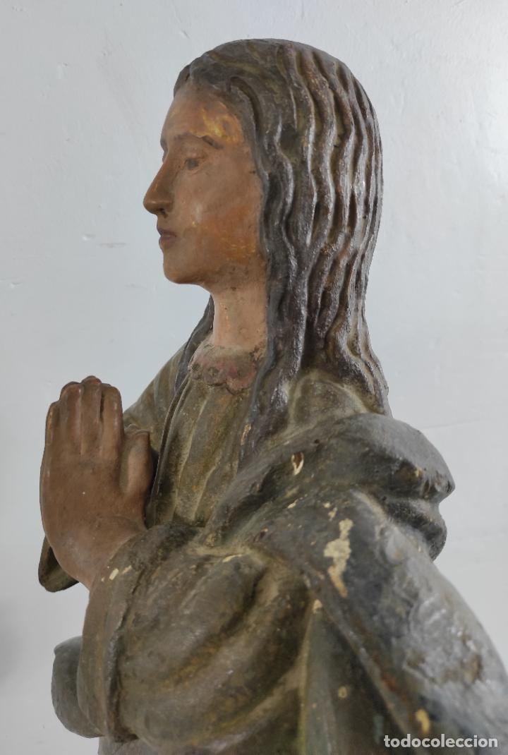 Arte: Virgen Purísima - Talla Popular en Madera de Encina Policromada - Escuela Catalana - S. XVII - Foto 16 - 254490140