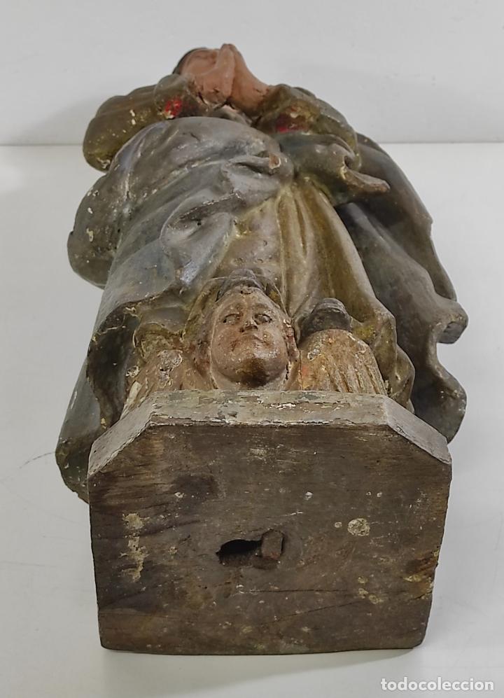 Arte: Virgen Purísima - Talla Popular en Madera de Encina Policromada - Escuela Catalana - S. XVII - Foto 17 - 254490140