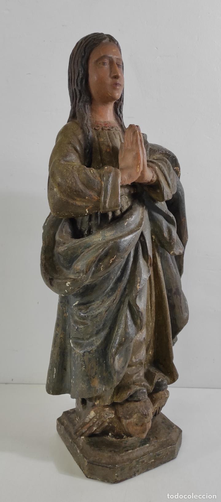 Arte: Virgen Purísima - Talla Popular en Madera de Encina Policromada - Escuela Catalana - S. XVII - Foto 19 - 254490140