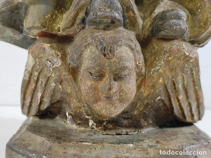 Arte: Virgen Purísima - Talla Popular en Madera de Encina Policromada - Escuela Catalana - S. XVII - Foto 20 - 254490140