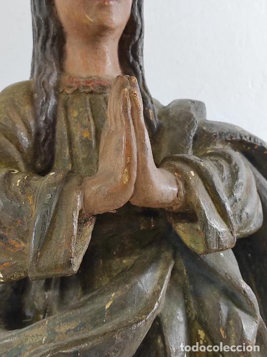 Arte: Virgen Purísima - Talla Popular en Madera de Encina Policromada - Escuela Catalana - S. XVII - Foto 22 - 254490140