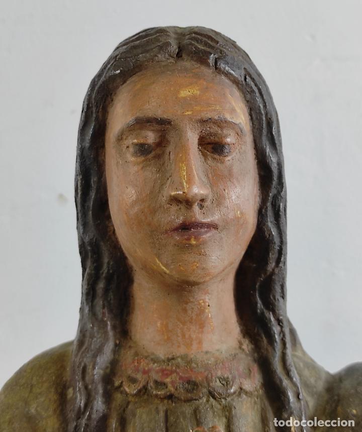 Arte: Virgen Purísima - Talla Popular en Madera de Encina Policromada - Escuela Catalana - S. XVII - Foto 23 - 254490140