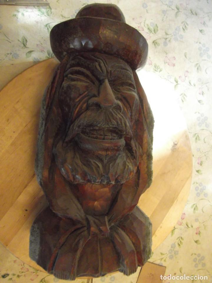 Arte: Antigua y gran escultura de madera , Altura 35 cm X 18 cm de circunferencia - Foto 8 - 254579980
