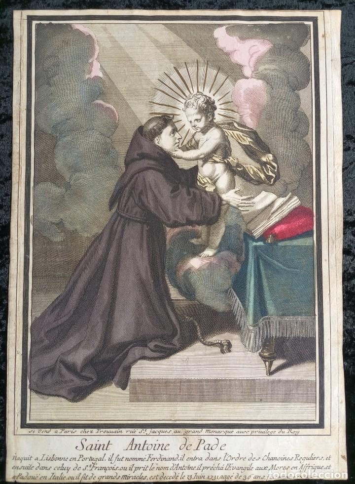 GRABADO COLOR - SAN ANTONIO DE PADUA - TROUVAIN - ¿SIGLO XVII? (Arte - Arte Religioso - Grabados)