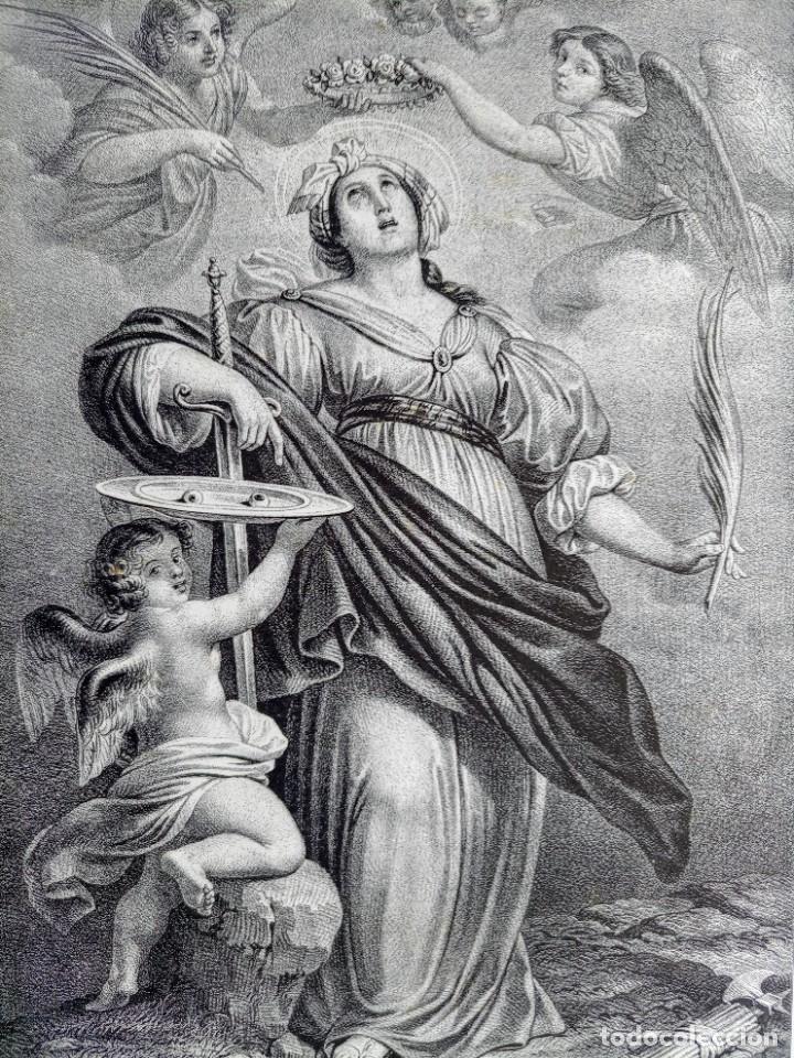 GRABADO LITOGRAFICO SANTA LUCIA CIRCA 1825 - 44X32CM (Arte - Arte Religioso - Grabados)