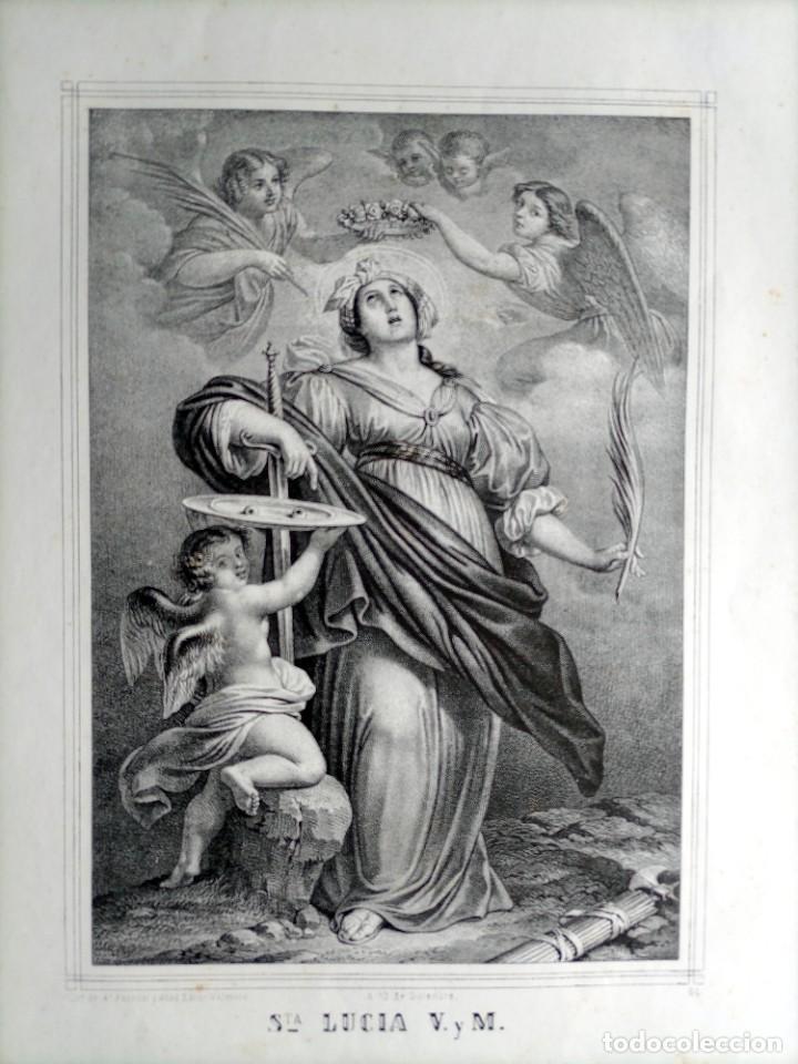 Arte: GRABADO LITOGRAFICO SANTA LUCIA circa 1825 - 44x32cm - Foto 2 - 254874045