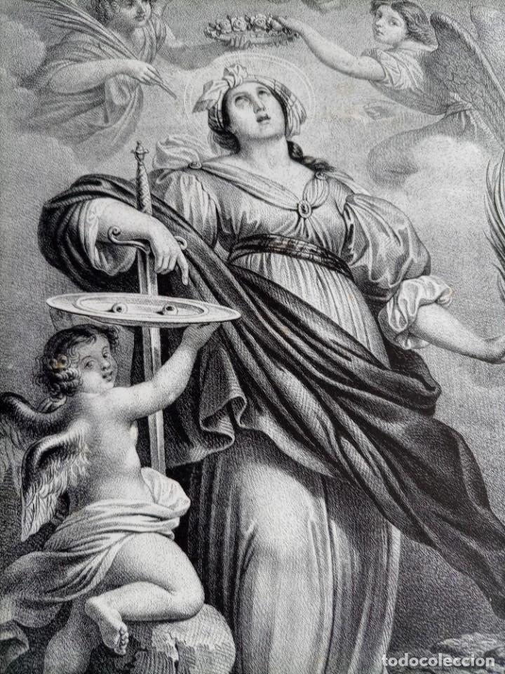 Arte: GRABADO LITOGRAFICO SANTA LUCIA circa 1825 - 44x32cm - Foto 7 - 254874045