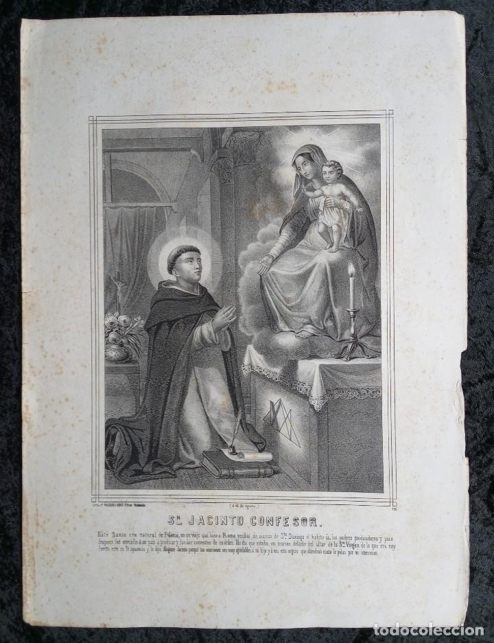 Arte: GRABADO LITOGRAFICO SAN JACINTO CONFESOR - PREDICADORES - POLONIA - circa 1825 - 43,5x32cm - Foto 3 - 254876805