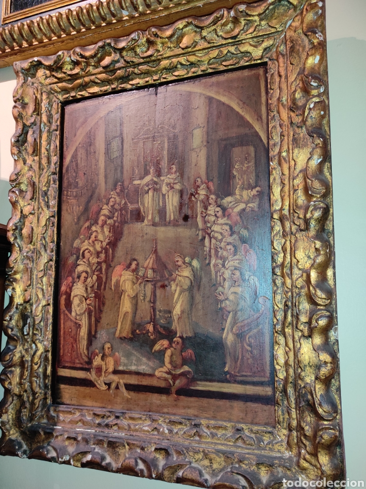 Arte: Oleo Sobre Tabla Monjes - Ángeles Orando - Finales del siglo XVII - Principios del XVIII - - Foto 2 - 254897300