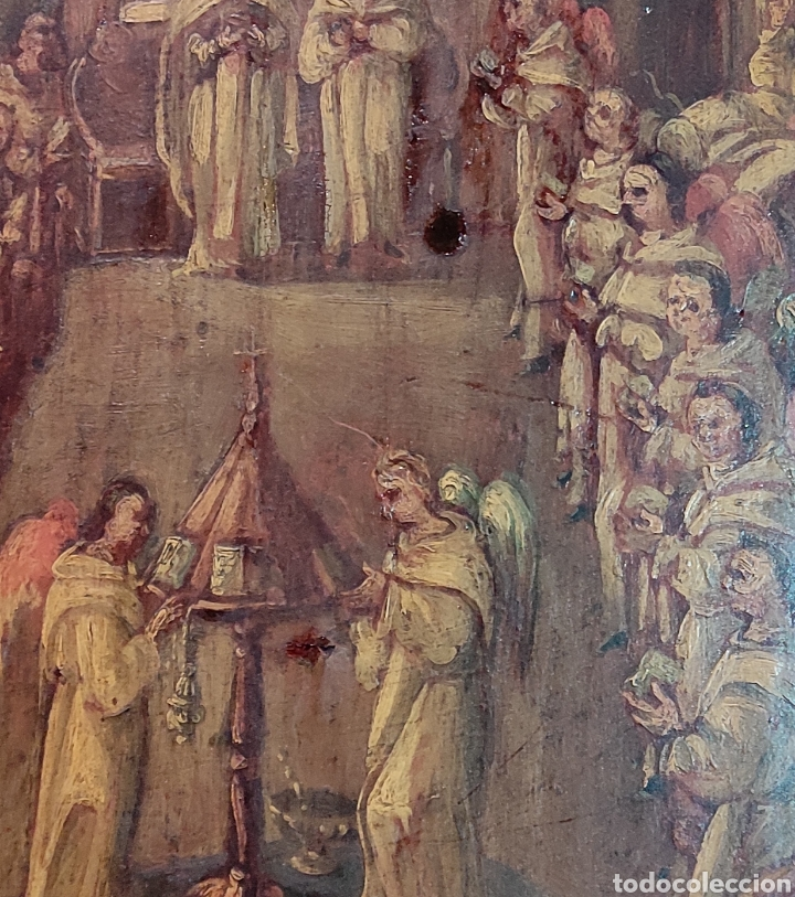 Arte: Oleo Sobre Tabla Monjes - Ángeles Orando - Finales del siglo XVII - Principios del XVIII - - Foto 3 - 254897300