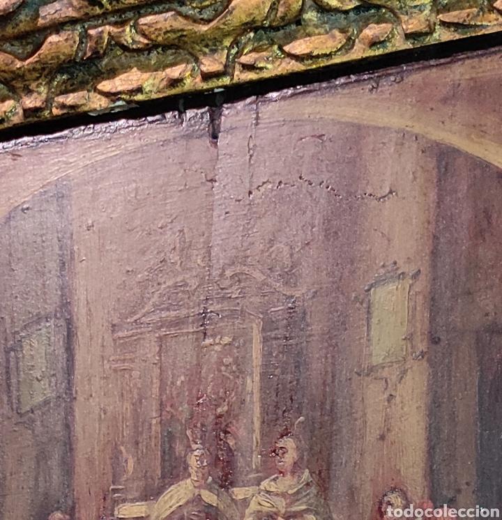 Arte: Oleo Sobre Tabla Monjes - Ángeles Orando - Finales del siglo XVII - Principios del XVIII - - Foto 4 - 254897300