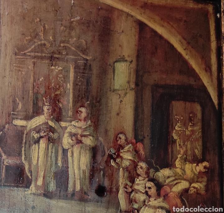 Arte: Oleo Sobre Tabla Monjes - Ángeles Orando - Finales del siglo XVII - Principios del XVIII - - Foto 5 - 254897300