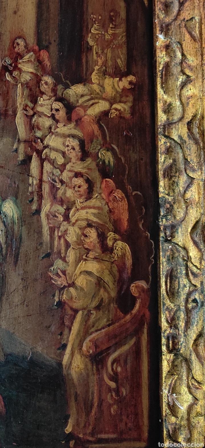 Arte: Oleo Sobre Tabla Monjes - Ángeles Orando - Finales del siglo XVII - Principios del XVIII - - Foto 6 - 254897300