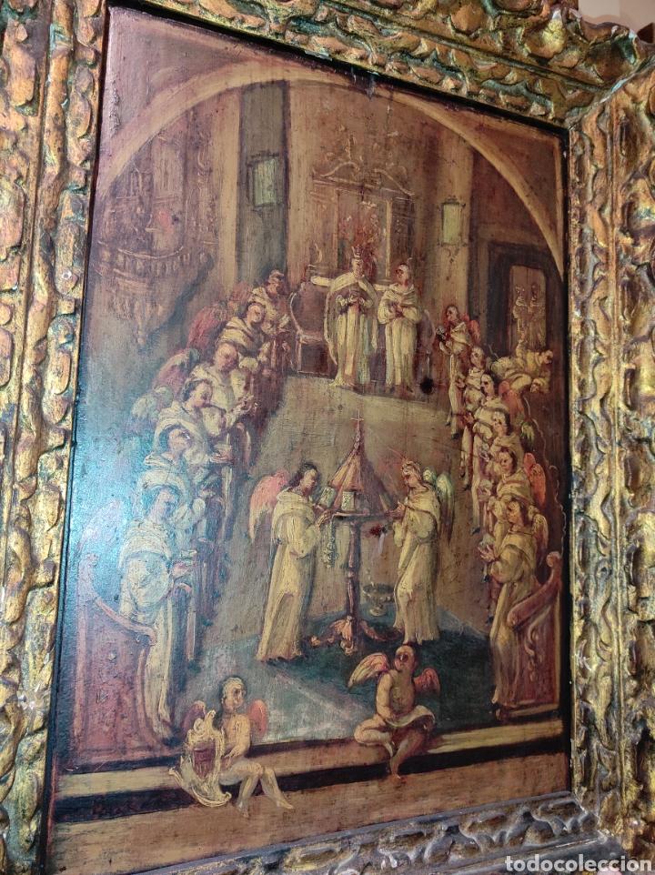 Arte: Oleo Sobre Tabla Monjes - Ángeles Orando - Finales del siglo XVII - Principios del XVIII - - Foto 7 - 254897300