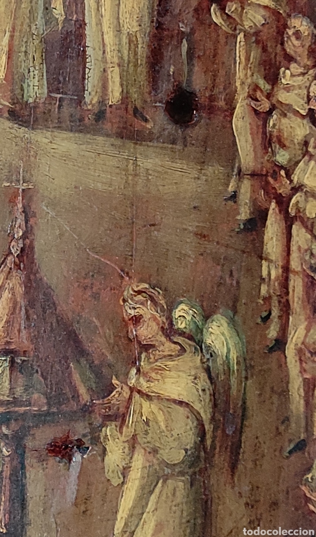 Arte: Oleo Sobre Tabla Monjes - Ángeles Orando - Finales del siglo XVII - Principios del XVIII - - Foto 8 - 254897300