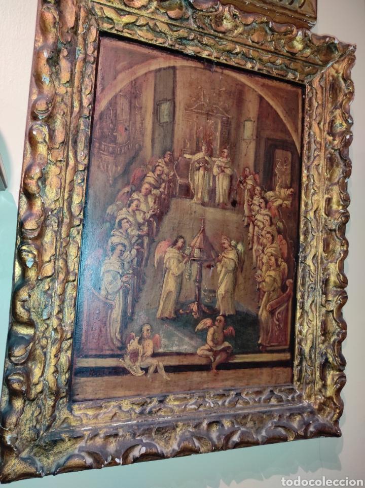 Arte: Oleo Sobre Tabla Monjes - Ángeles Orando - Finales del siglo XVII - Principios del XVIII - - Foto 9 - 254897300