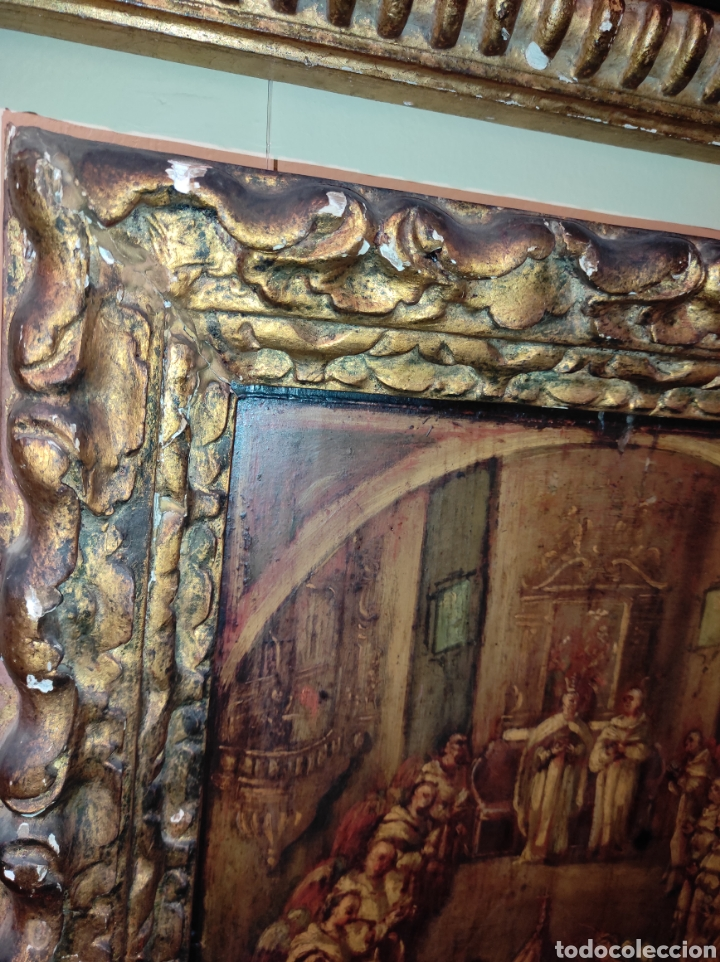 Arte: Oleo Sobre Tabla Monjes - Ángeles Orando - Finales del siglo XVII - Principios del XVIII - - Foto 11 - 254897300