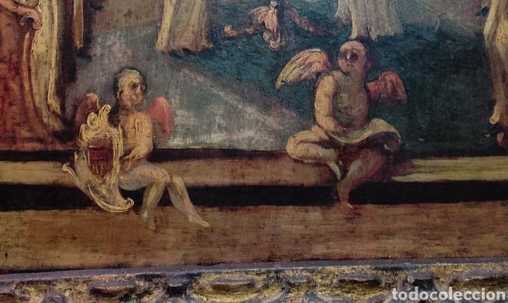 Arte: Oleo Sobre Tabla Monjes - Ángeles Orando - Finales del siglo XVII - Principios del XVIII - - Foto 12 - 254897300