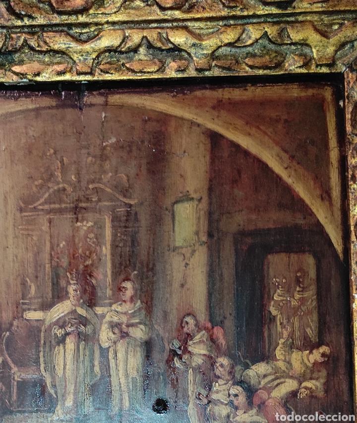 Arte: Oleo Sobre Tabla Monjes - Ángeles Orando - Finales del siglo XVII - Principios del XVIII - - Foto 13 - 254897300