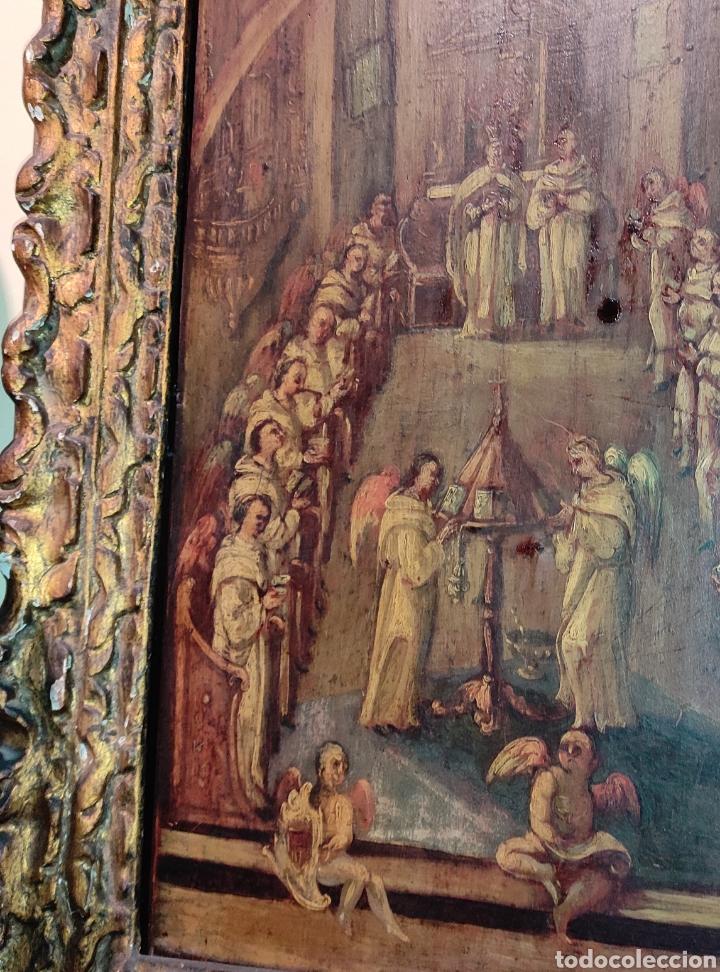 Arte: Oleo Sobre Tabla Monjes - Ángeles Orando - Finales del siglo XVII - Principios del XVIII - - Foto 14 - 254897300
