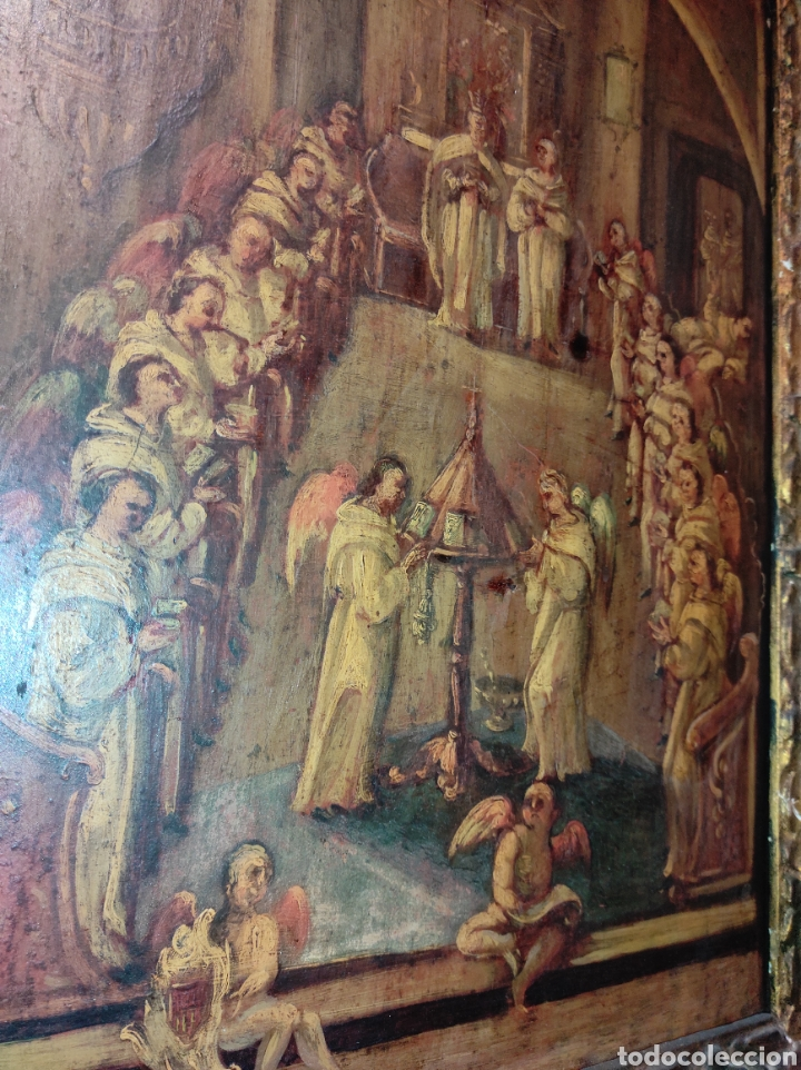 Arte: Oleo Sobre Tabla Monjes - Ángeles Orando - Finales del siglo XVII - Principios del XVIII - - Foto 15 - 254897300