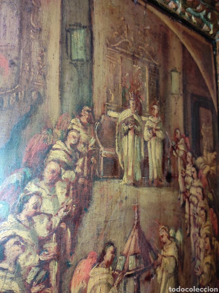 Arte: Oleo Sobre Tabla Monjes - Ángeles Orando - Finales del siglo XVII - Principios del XVIII - - Foto 16 - 254897300