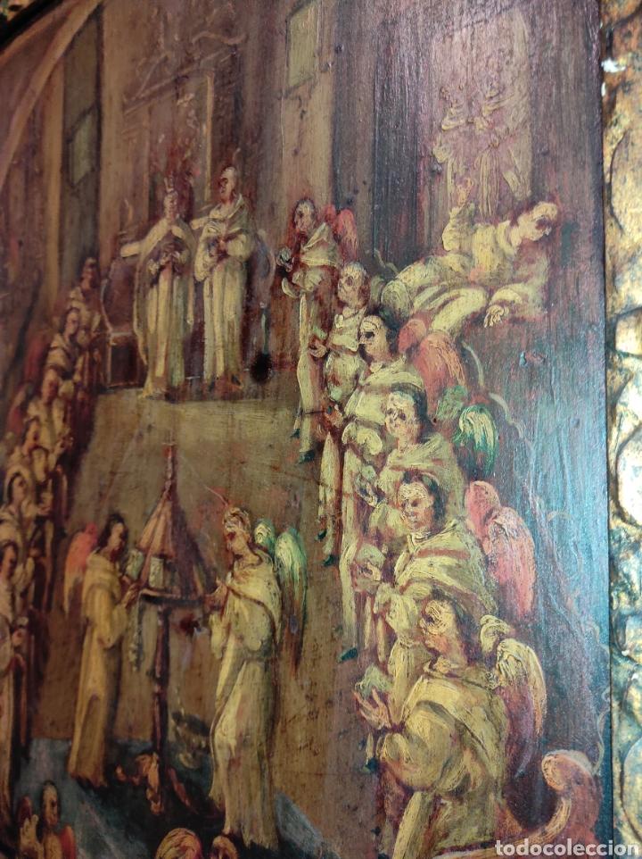 Arte: Oleo Sobre Tabla Monjes - Ángeles Orando - Finales del siglo XVII - Principios del XVIII - - Foto 18 - 254897300