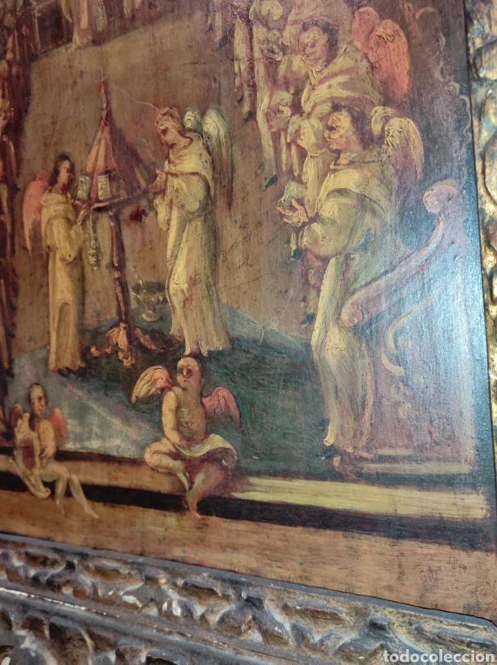 Arte: Oleo Sobre Tabla Monjes - Ángeles Orando - Finales del siglo XVII - Principios del XVIII - - Foto 19 - 254897300