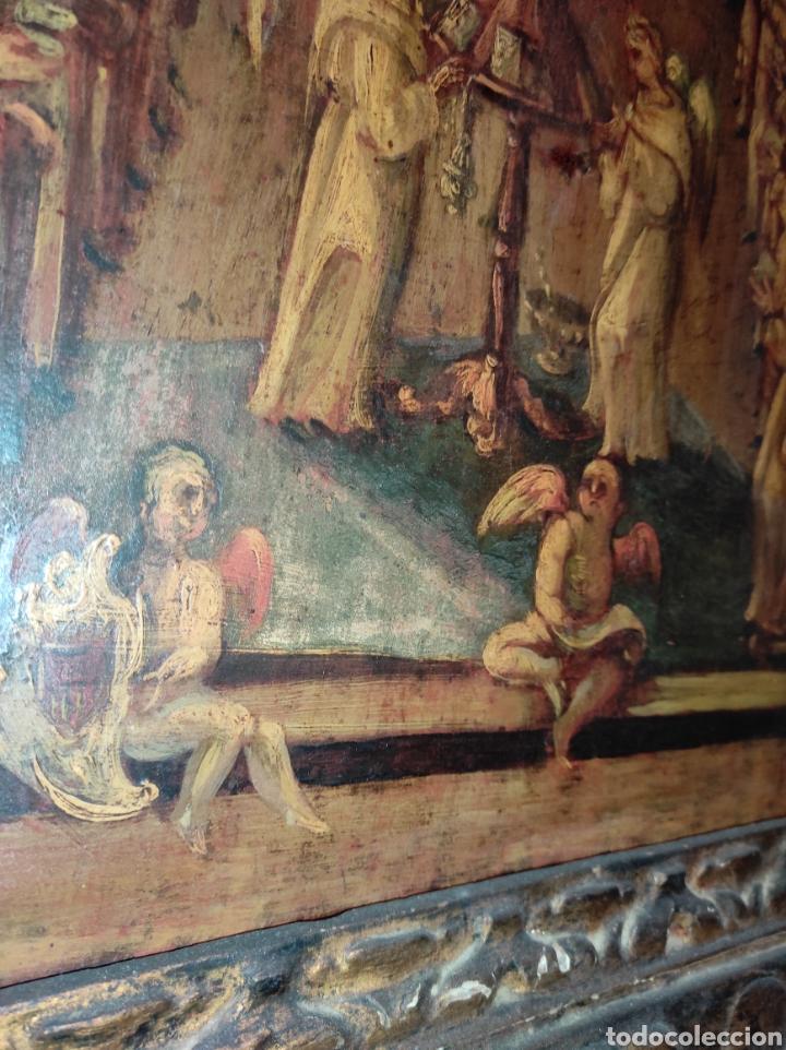 Arte: Oleo Sobre Tabla Monjes - Ángeles Orando - Finales del siglo XVII - Principios del XVIII - - Foto 20 - 254897300