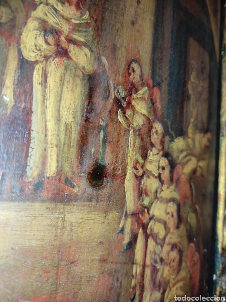 Arte: Oleo Sobre Tabla Monjes - Ángeles Orando - Finales del siglo XVII - Principios del XVIII - - Foto 22 - 254897300