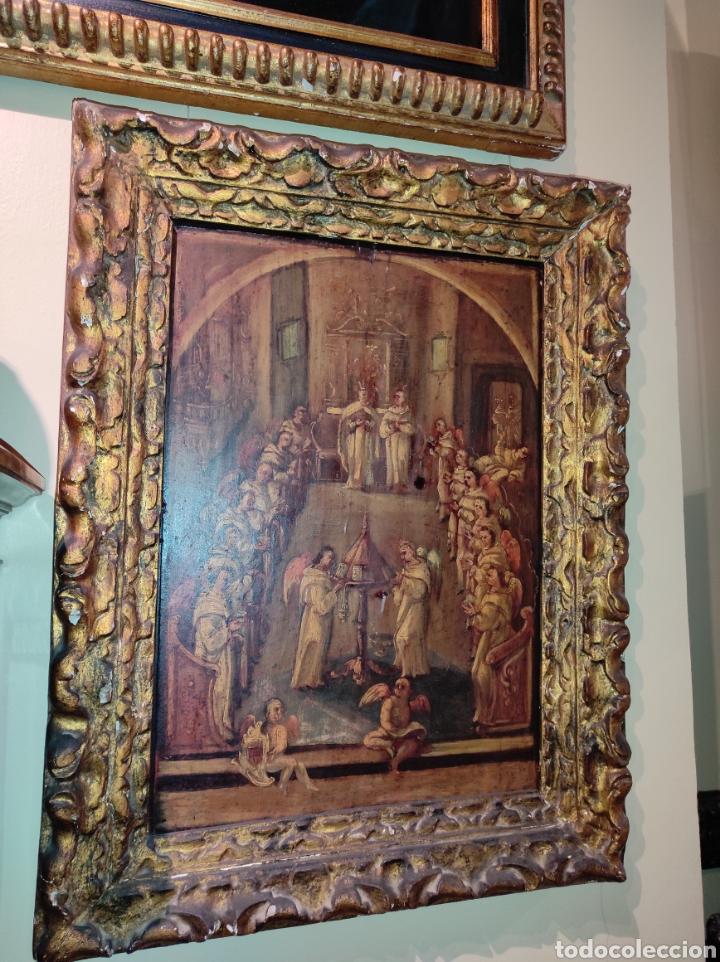 OLEO SOBRE TABLA MONJES - ÁNGELES ORANDO - FINALES DEL SIGLO XVII - PRINCIPIOS DEL XVIII - (Arte - Arte Religioso - Pintura Religiosa - Oleo)