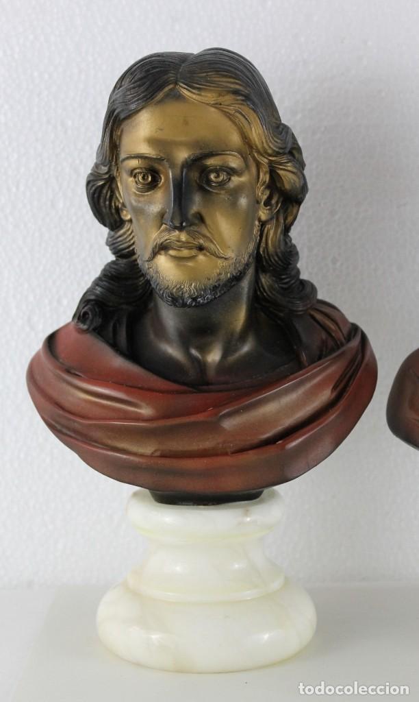 Arte: Bustos de la Virgen y Cristo en resina policromada con base de mármol. Siglo XX - Foto 2 - 254901890