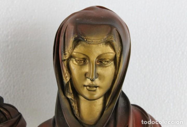 Arte: Bustos de la Virgen y Cristo en resina policromada con base de mármol. Siglo XX - Foto 5 - 254901890